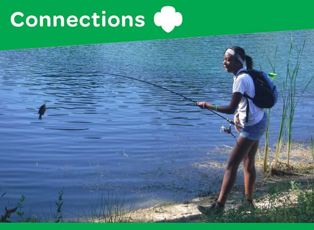 Girl Scout fishing at Camp Winacka